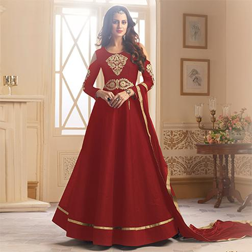 Arresting Red Colored Partywear Designer Embroidered Tapeta Silk Anarkali Suit