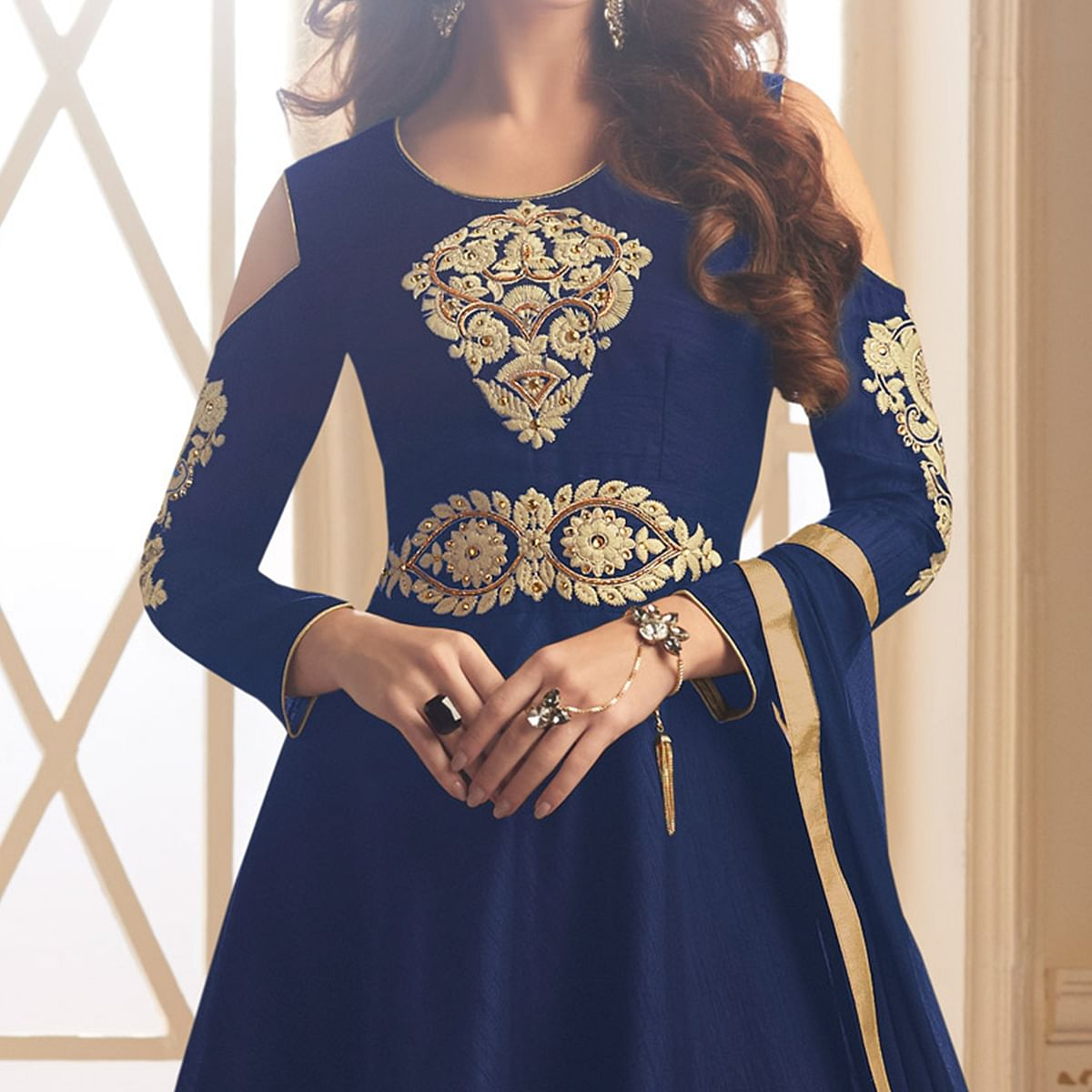 Demanding Navy Blue Colored Partywear Designer Embroidered Tapeta Silk Anarkali Suit