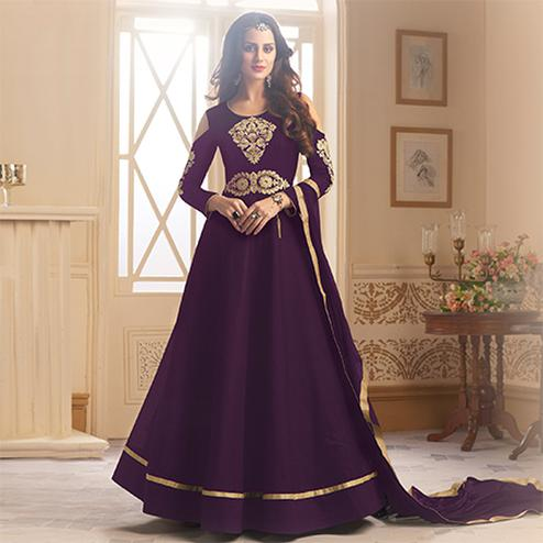 Impressive Purple Colored Partywear Designer Embroidered Tapeta Silk Anarkali Suit