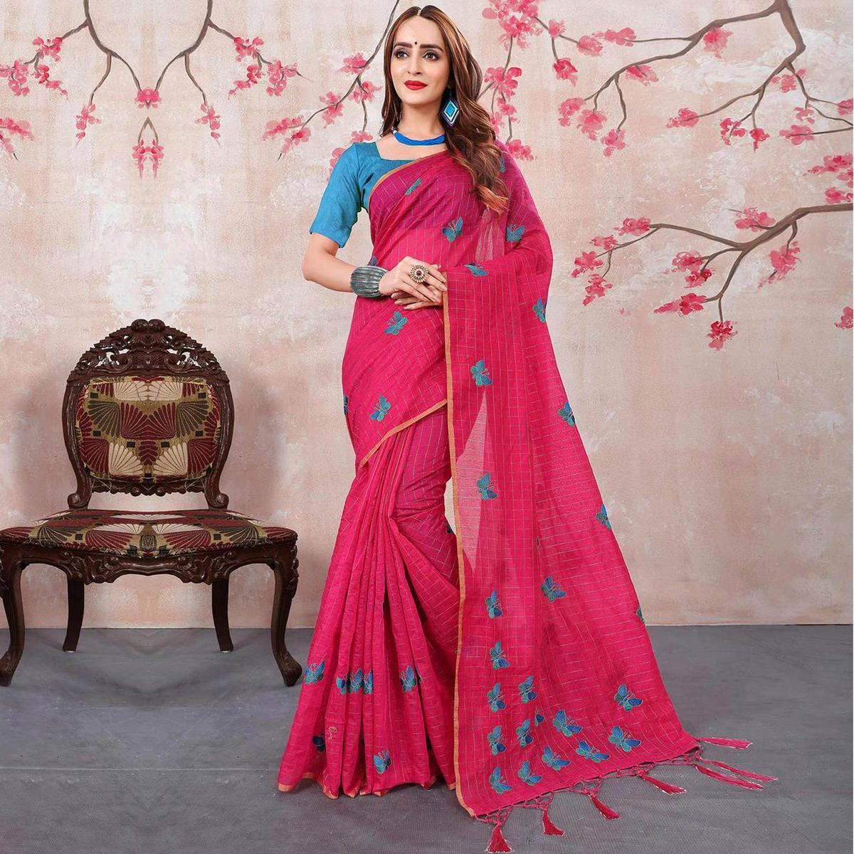 Charming Pink Colored Embroidered Chanderi Silk Saree