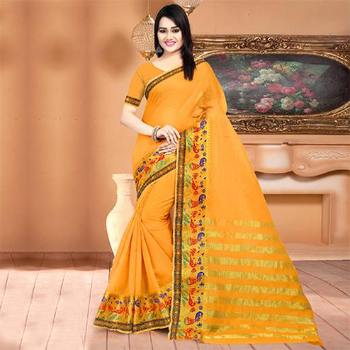 Traditional Light Orange Colored Festive Wear Woven Banarasi Cotton Silk Saree