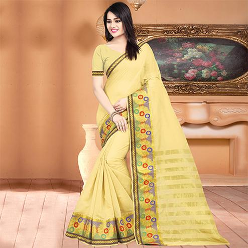 Beautiful Light Yellow Colored Festive Wear Woven Banarasi Cotton Silk Saree