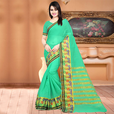 Pretty Green Colored Festive Wear Woven Banarasi Cotton Silk Saree