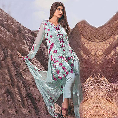 Lovely Green Designer Embroidered Georgette Pant Style Suit