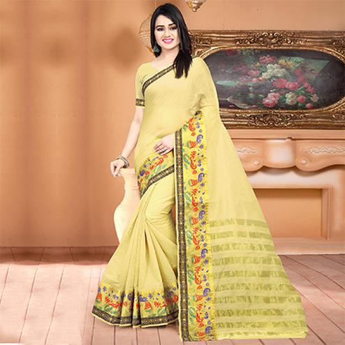 Attractive Yellow Colored Festive Wear Woven Banarasi Cotton Silk Saree