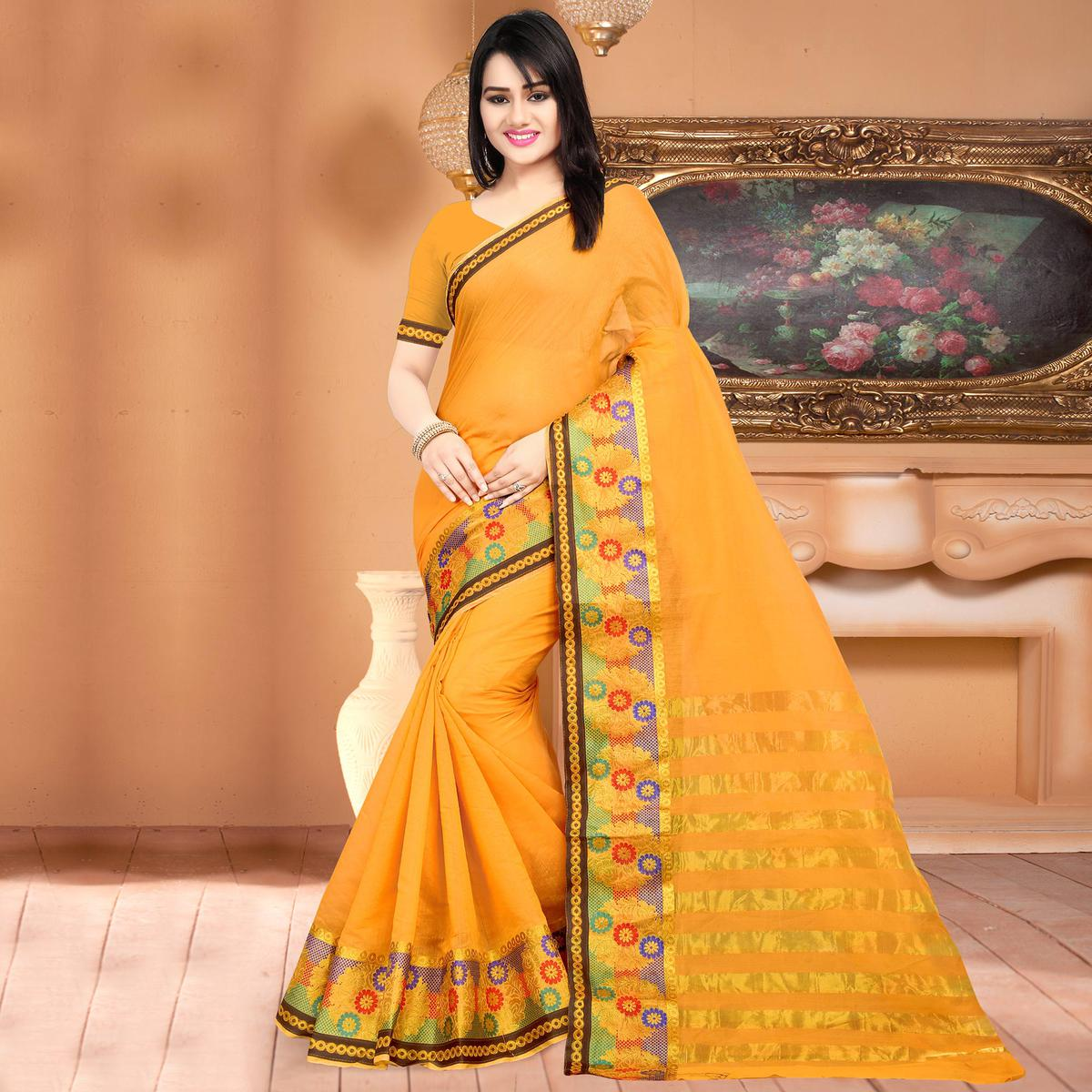 Mesmerising Light Orange Colored Festive Wear Woven Banarasi Cotton Silk Saree