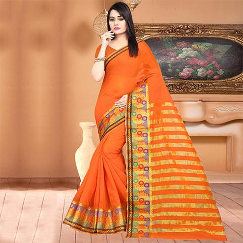 Perfect Orange Colored Festive Wear Woven Banarasi Cotton Silk Saree