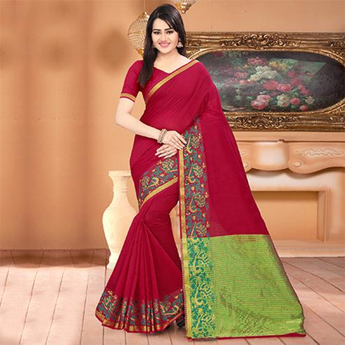 Exceptional Magenta Colored Festive Wear Woven Banarasi Cotton Silk Saree