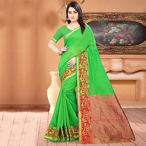 Glowing Green Colored Festive Wear Woven Banarasi Cotton Silk Saree