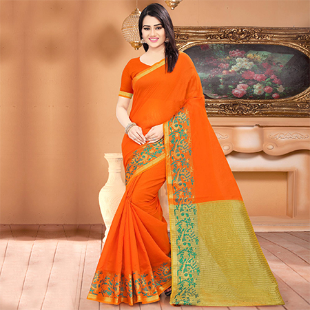 Dazzling Orange Colored Festive Wear Woven Banarasi Cotton Silk Saree