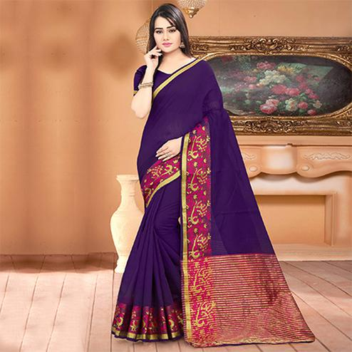 Pretty Purple Colored Festive Wear Woven Banarasi Cotton Silk Saree