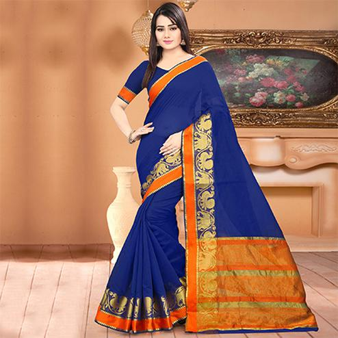 Gorgeous Blue Colored Festive Wear Woven Banarasi Cotton Silk Saree