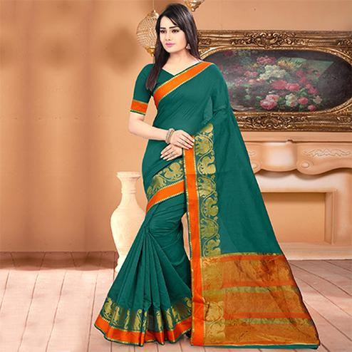 Excellent Teal Green Colored Festive Wear Woven Banarasi Cotton Silk Saree