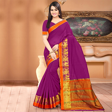 Ravishing Purple Colored Festive Wear Woven Banarasi Cotton Silk Saree