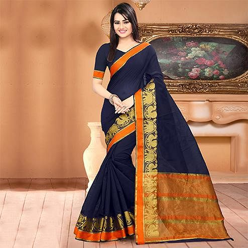 Classy Navy Blue Colored Festive Wear Woven Banarasi Cotton Silk Saree