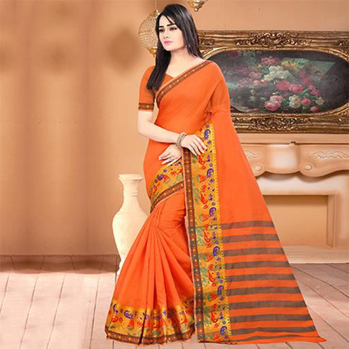 Lovely Orange Colored Festive Wear Woven Banarasi Cotton Silk Saree