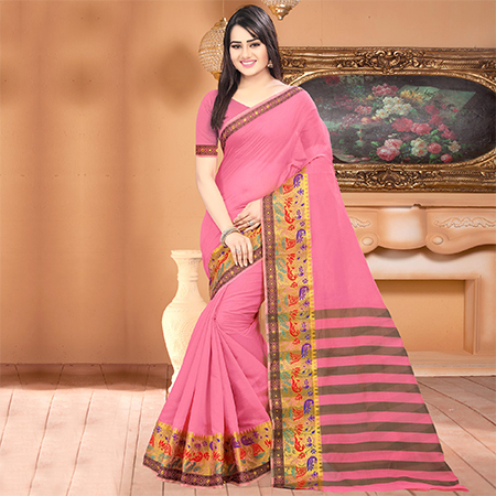 Refreshing Pink Colored Festive Wear Woven Banarasi Cotton Silk Saree