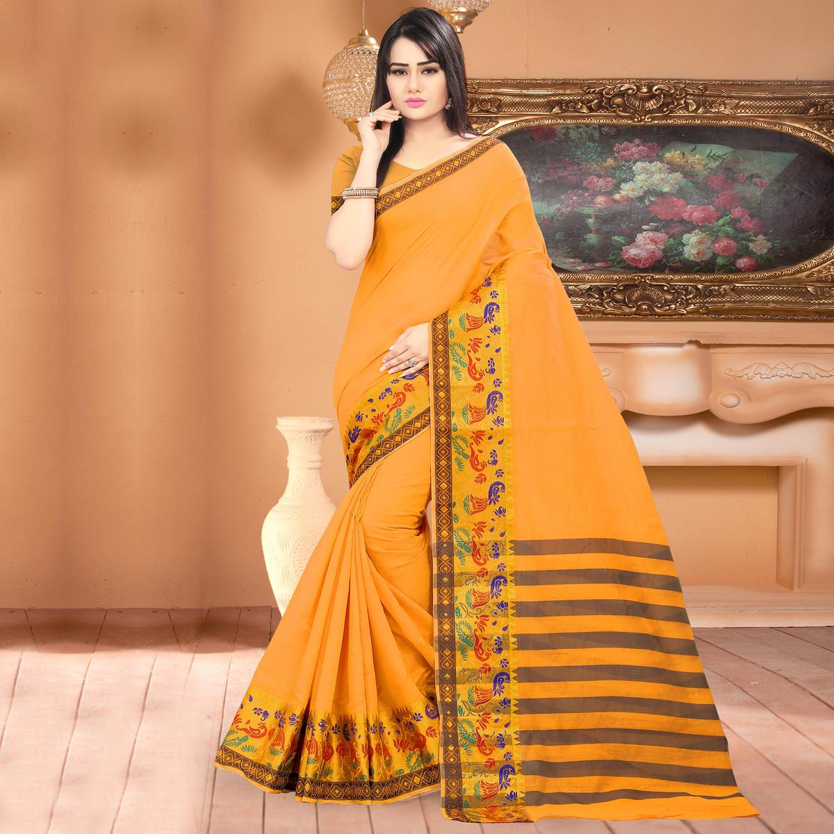 Blooming Light Orange Colored Festive Wear Woven Banarasi Cotton Silk Saree