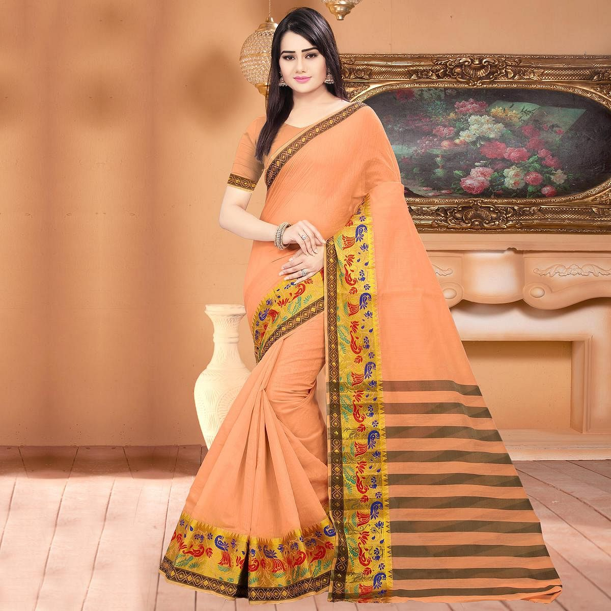 Groovy Peach Colored Festive Wear Woven Banarasi Cotton Silk Saree