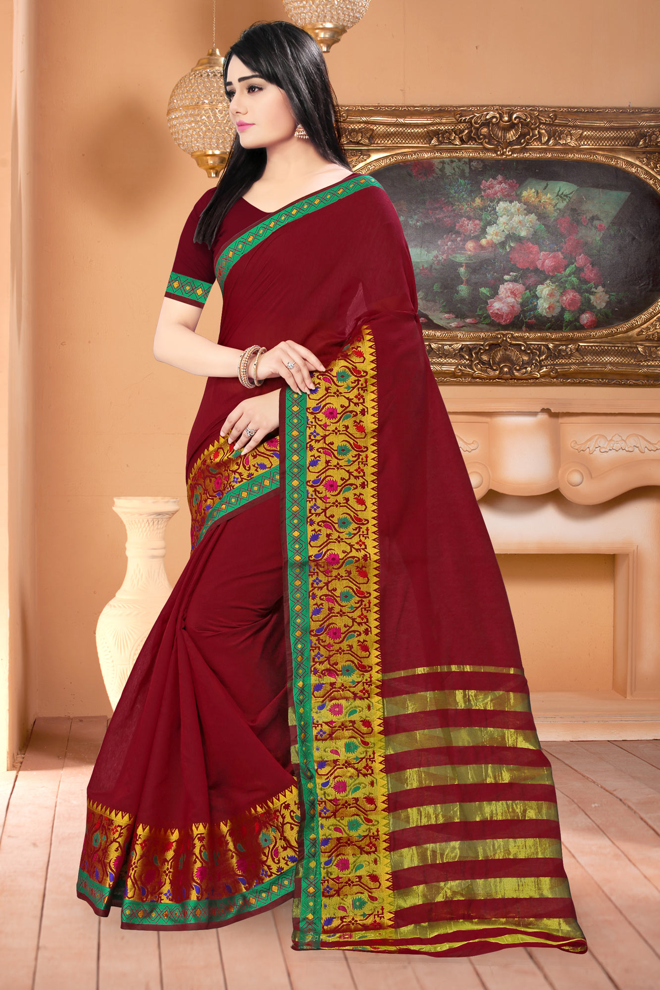 Trendy Maroon Colored Festive Wear Woven Banarasi Cotton Silk Saree