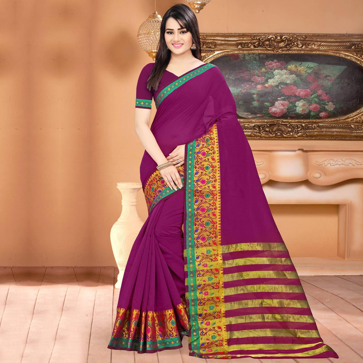 980f673d2f Buy Mesmerising Purple Colored Festive Wear Woven Banarasi Cotton Silk Saree  for womens online India, Best Prices, Reviews - Peachmode