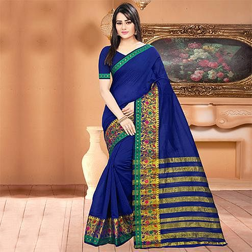 Staring Blue Colored Festive Wear Woven Banarasi Cotton Silk Saree