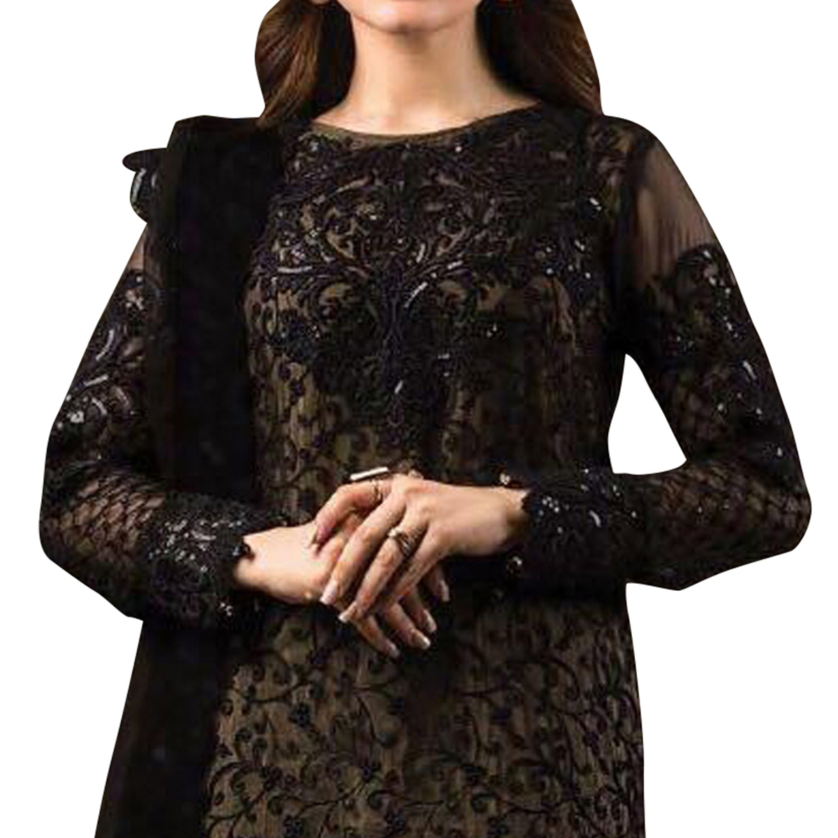 Stunning Black Designer Embroidered Georgette Pant Style Suit