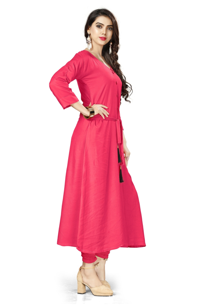 Charming Peach Colored Casual Wear Rayon Kurti