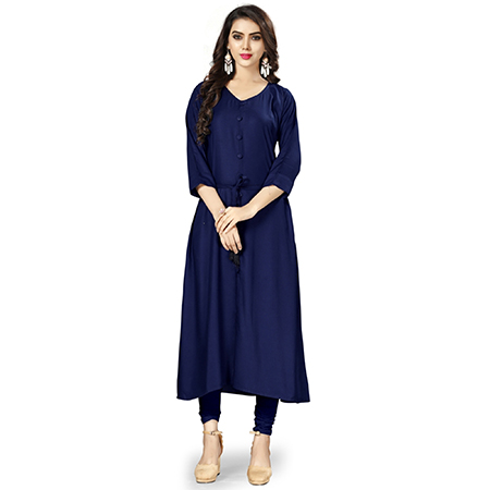 Stylish Navy Blue Colored Casual Wear Rayon Kurti