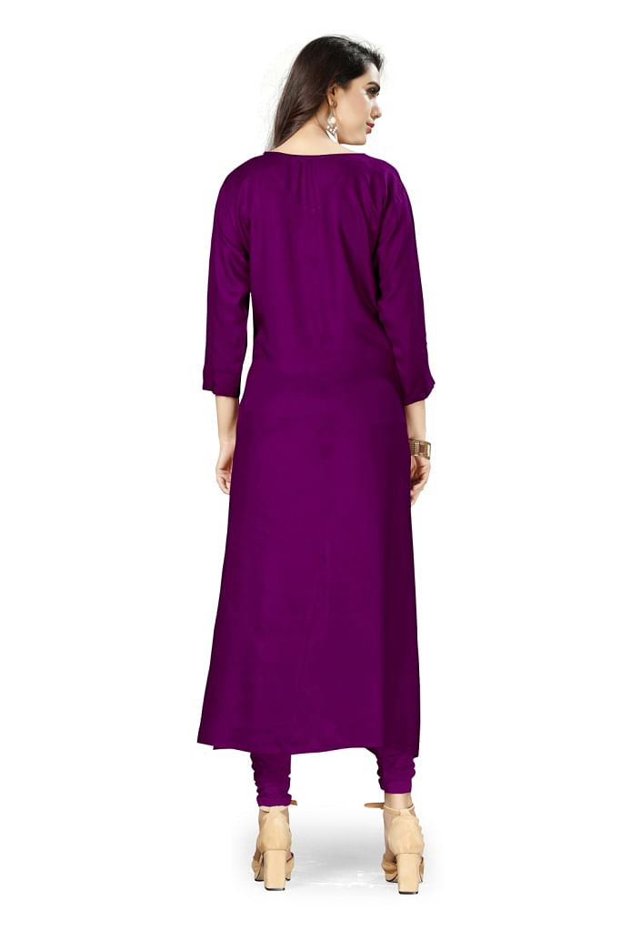 Classy Purple Colored Casual Wear Rayon Kurti