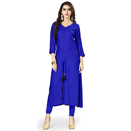 Royal Blue Colored Casual Wear Rayon Kurti