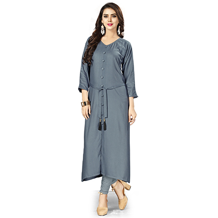 Trendy Gray Colored Casual Wear Rayon Kurti