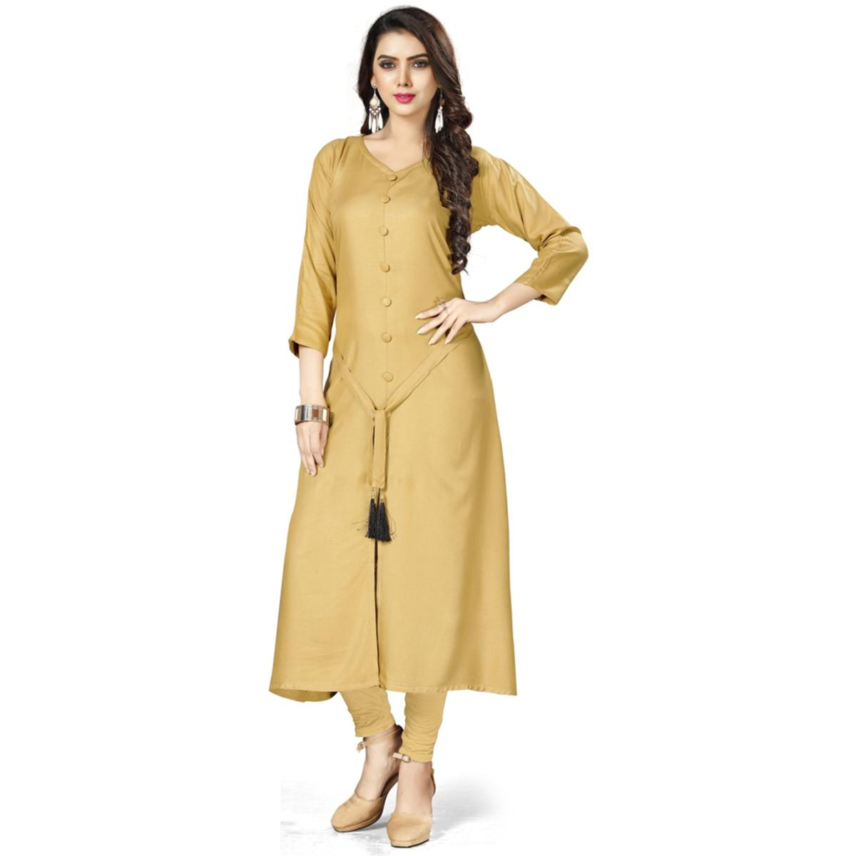 Pleasant Beige Colored Casual Wear Rayon Kurti