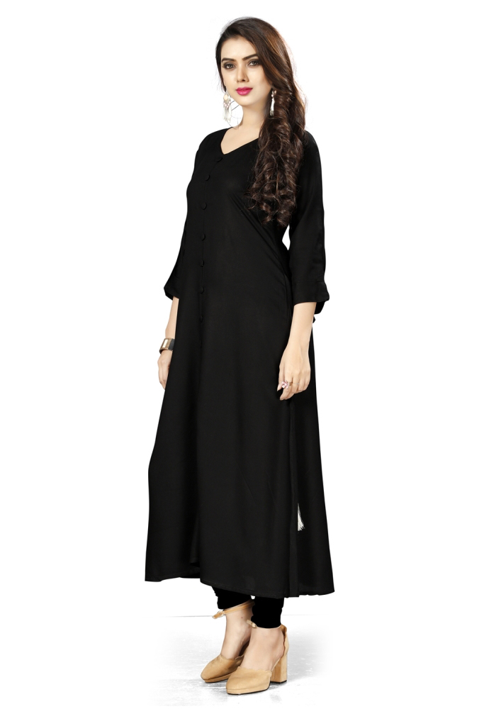 Gorgeous Black Colored Casual Wear Rayon Kurti
