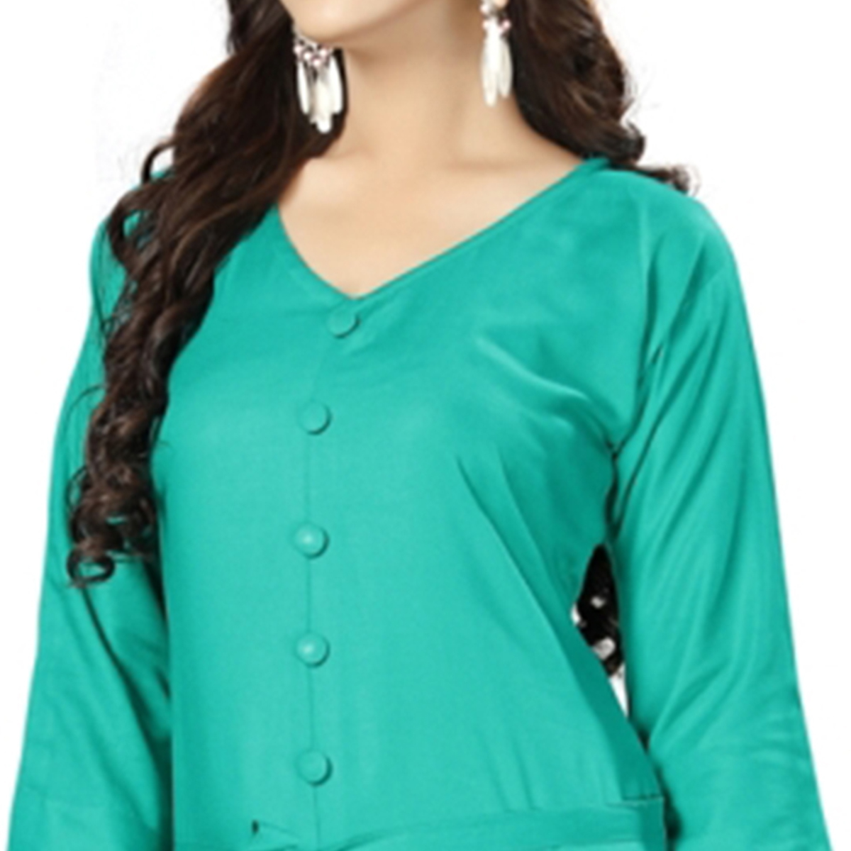 Groovy Turquoise Green Colored Casual Wear Rayon Kurti