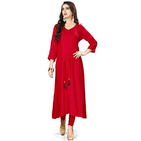 Demanding Red Colored Casual Wear Rayon Kurti