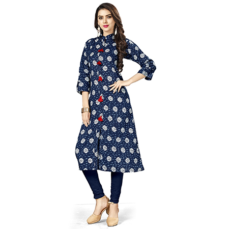 Lovely Navy Blue Colored Casual Printed Cotton Kurti