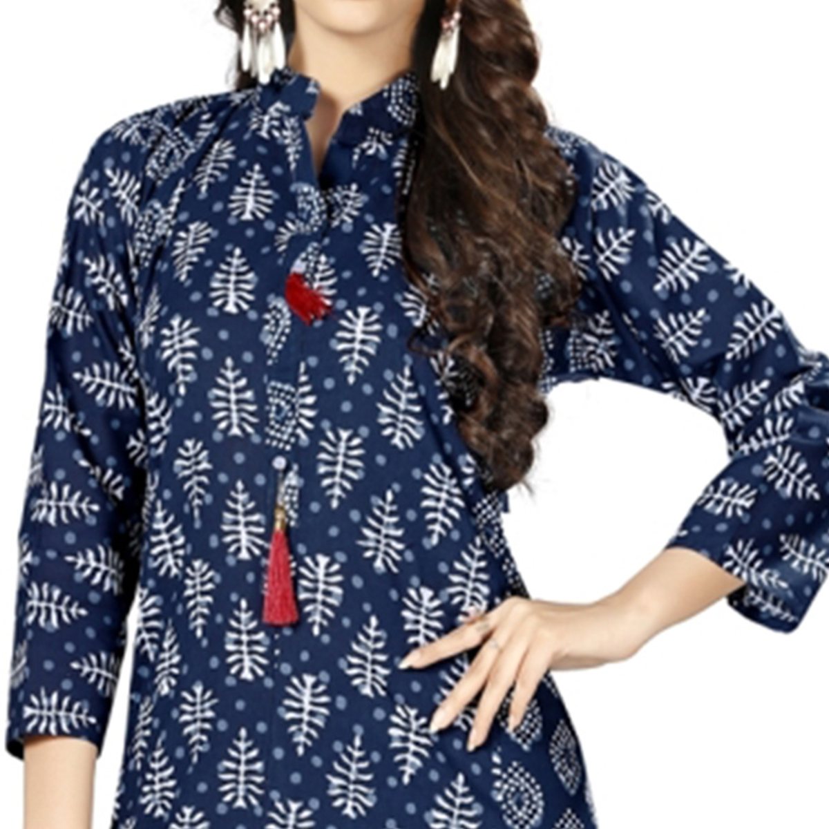 Adorning Navy Blue Colored Casual Printed Cotton Kurti