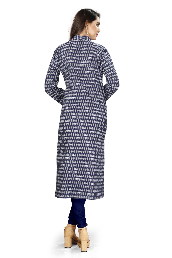 Impressive Navy Blue Colored Casual Printed Cotton Kurti