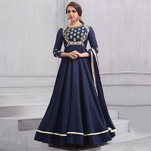 Gorgeous Navy blue Colored Partywear Designer Embroidered Tapeta Silk Gown