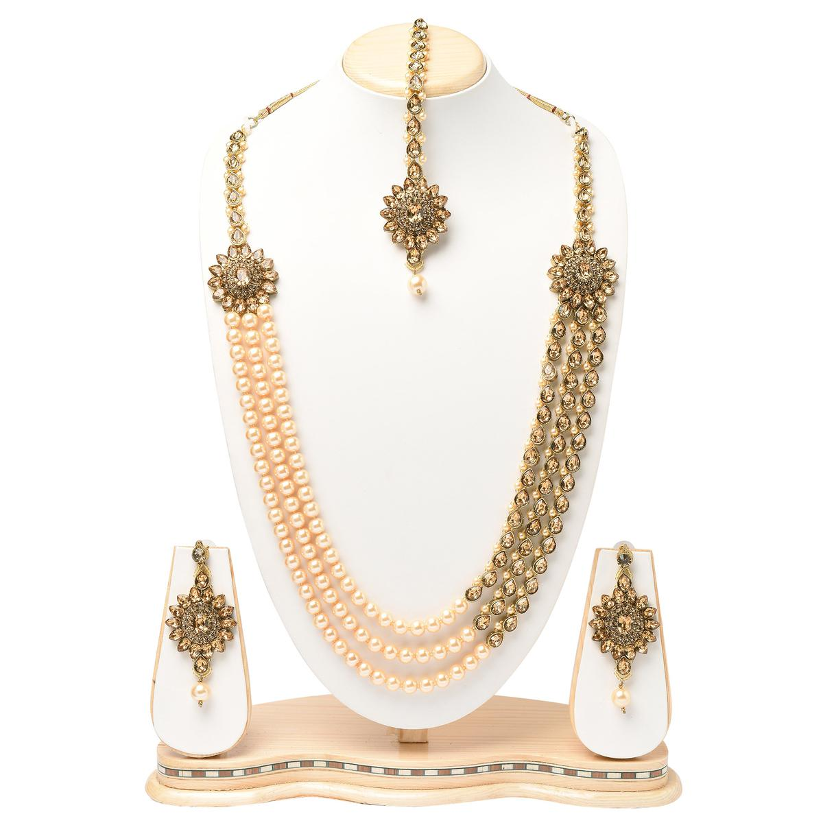 Elegant Design Long Necklace Set LCT Stone & Pearl with Maang Tikka