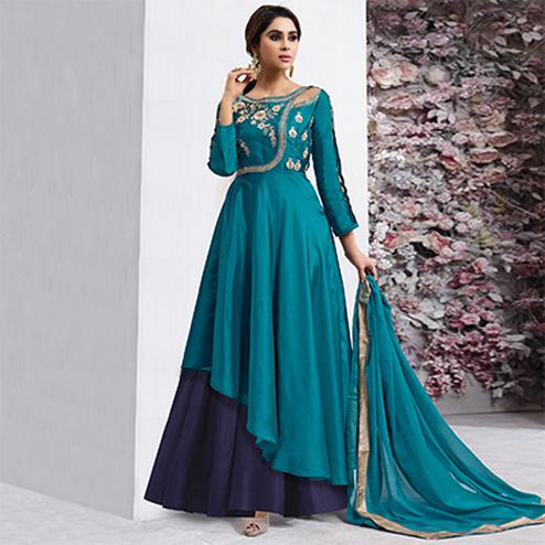 Amazing Teal Colored Partywear Designer Embroidered Tapeta Silk Gown
