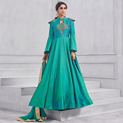 Classy Green Colored Partywear Designer Embroidered Tapeta Silk Gown