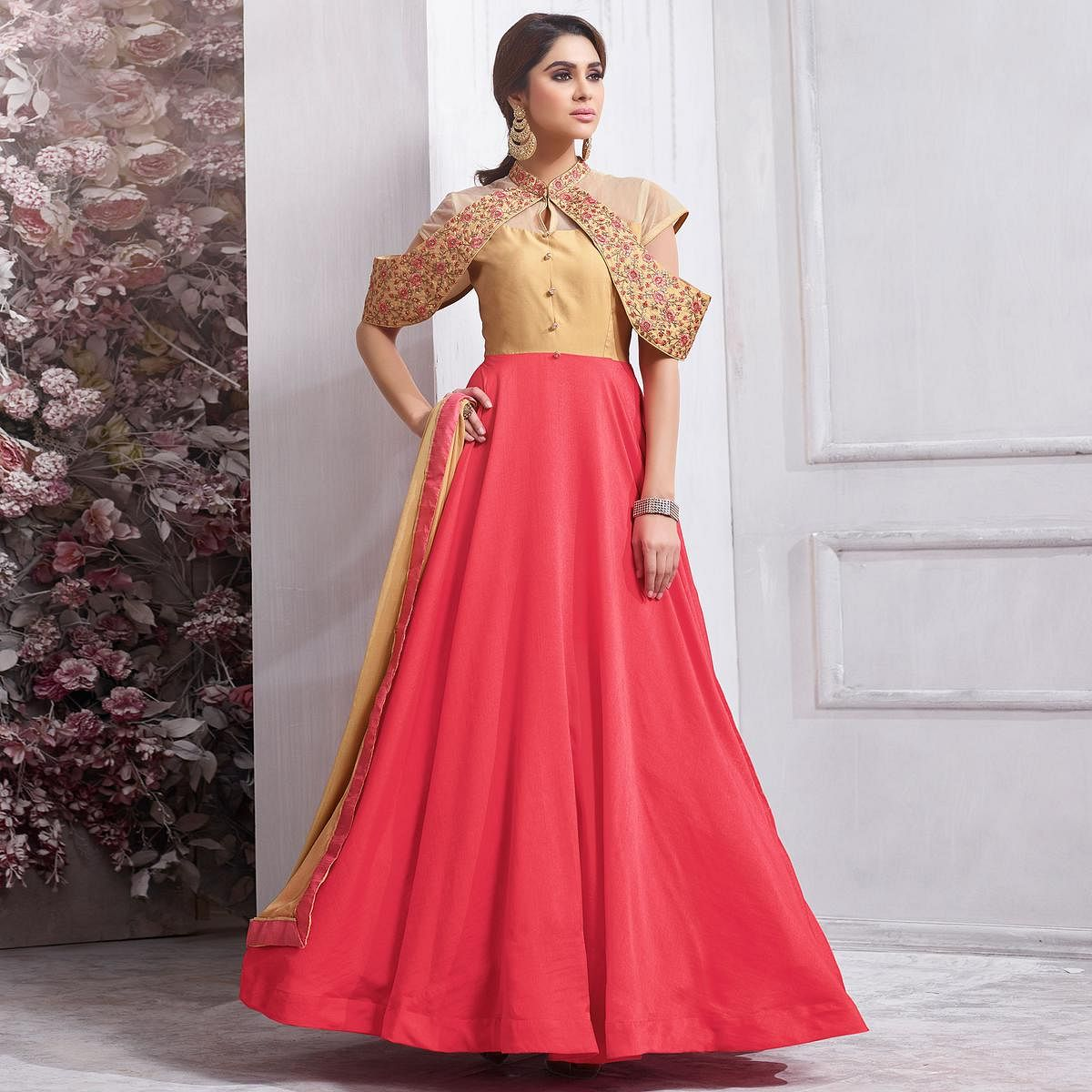 Blooming Cream - Pink Colored Partywear Designer Embroidered Tapeta Silk Gown