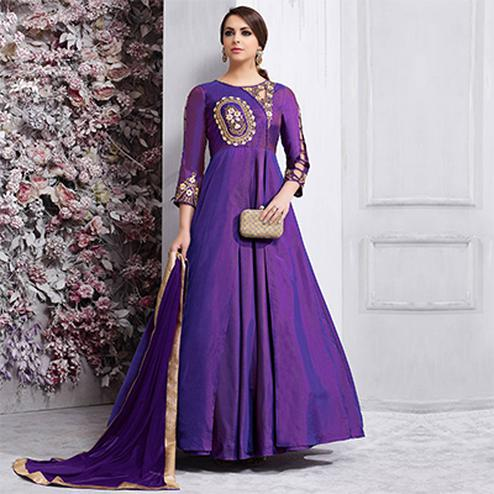 Mesmerising Purple Colored Partywear Designer Embroidered Tapeta Silk Gown