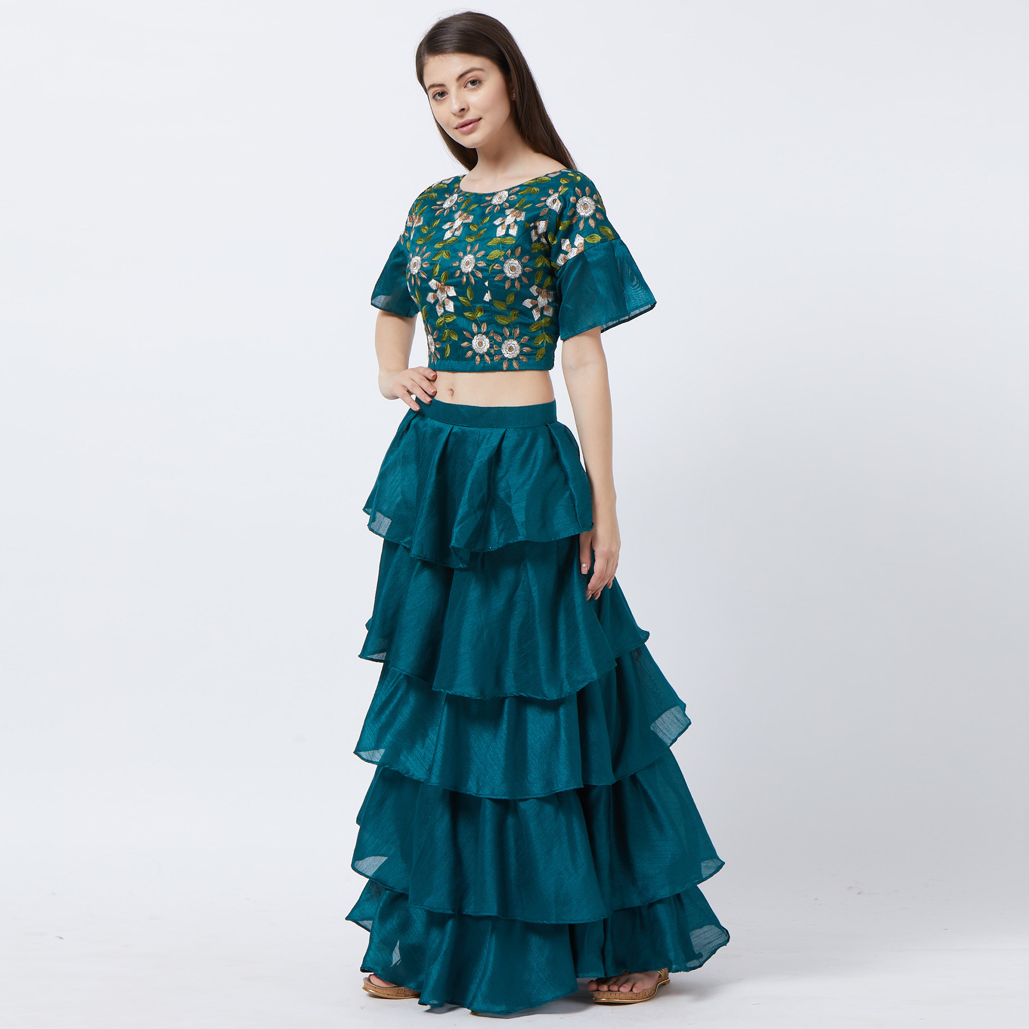 Refreshing Turquoise Green Colored Partywear Designer Embroidered Banglori Silk Lehenga Choli