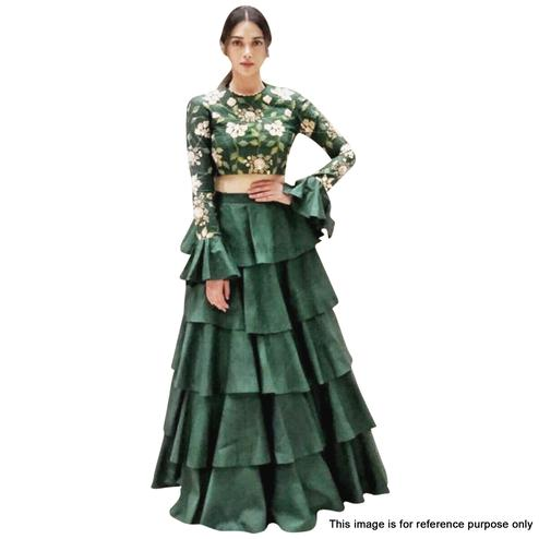 Refreshing Bottle Green Colored Partywear Designer Embroidered Banglori Silk Lehenga Choli
