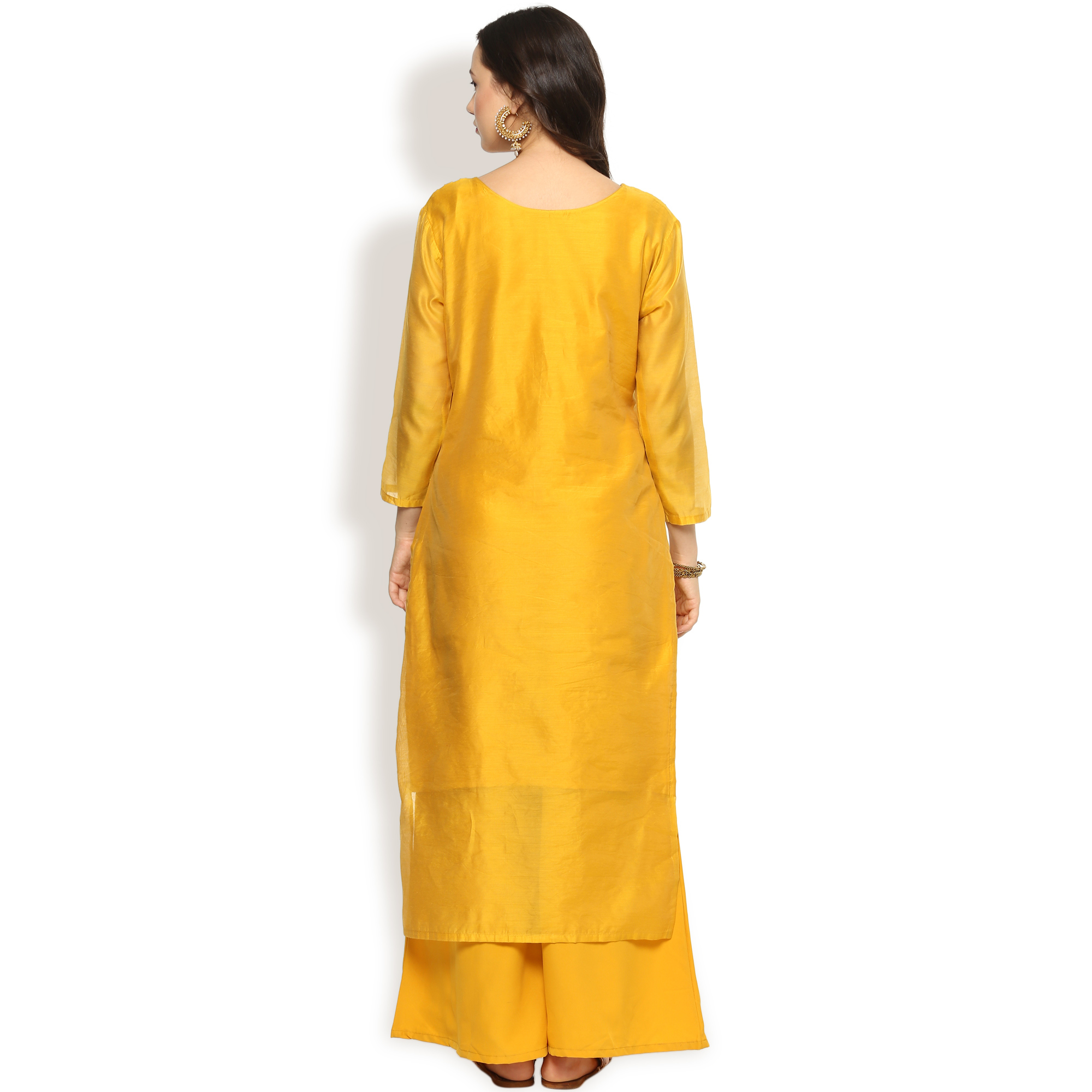 Glowing Yellow Colored Partywear Embroidered Chanderi Silk Suit
