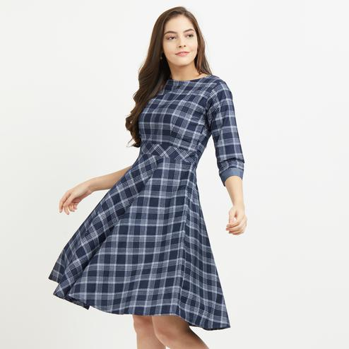 Smart Blue Denim Pure Cotton Checkered Stylish Dress