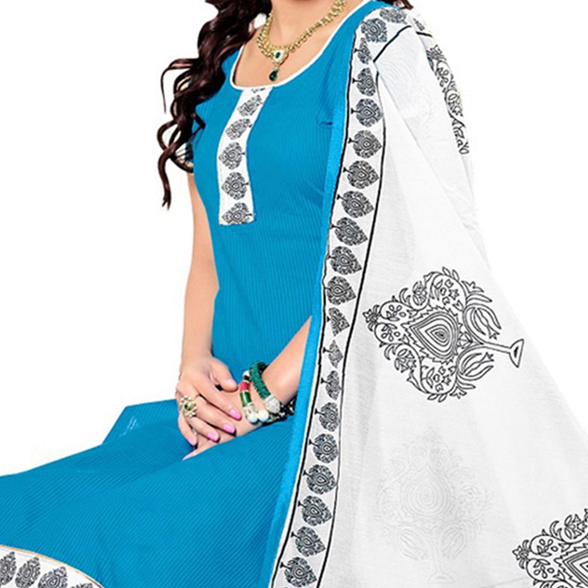 Blue Colored Casual Wear Printed Cotton Salwar Suit